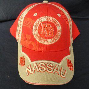 NASSAU BAHAMAS orange and beige baseball cap GUC